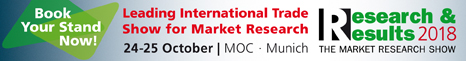 Research + Results Show, Munich 26-27th October 2016 - the leading international trade show for MR - Book your stand now!